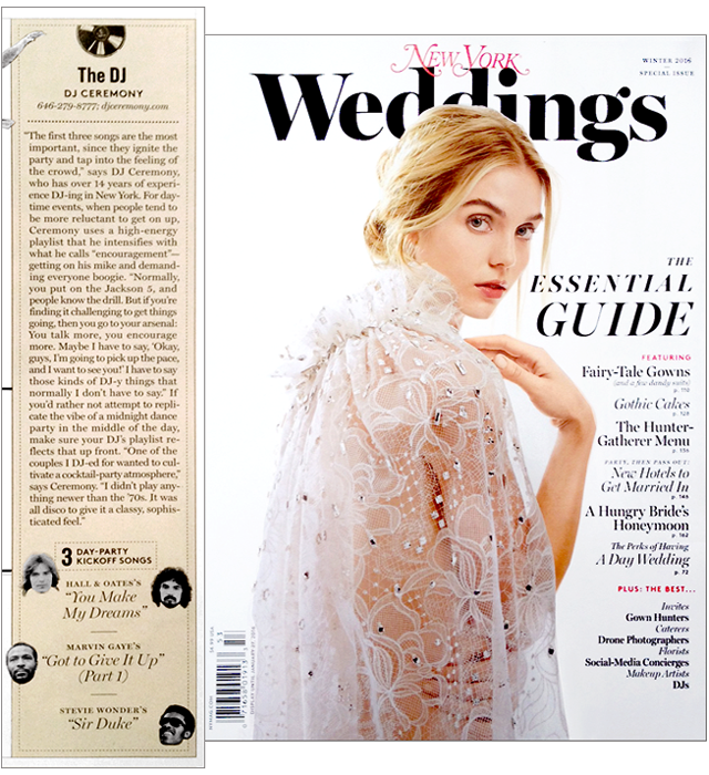 dj ceremony feature in ny weddings magazine�winter 2016